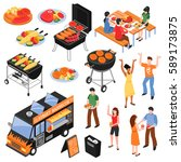 isometric set with meat and... | Shutterstock .eps vector #589173875