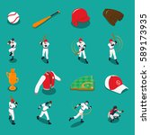 baseball set of isometric icons ... | Shutterstock .eps vector #589173935