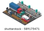 road crash design with truck... | Shutterstock .eps vector #589175471