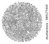 cartoon cute doodles hand drawn ... | Shutterstock .eps vector #589177445