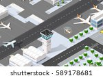 isometric 3d airport... | Shutterstock .eps vector #589178681