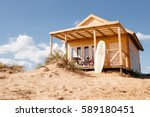 holiday house on the beach.... | Shutterstock . vector #589180451