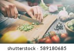 cooking healthy lifestyle meal... | Shutterstock . vector #589180685