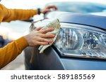 Shot Of Man Polishing His Car...
