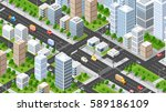 isometric 3d illustration city... | Shutterstock .eps vector #589186109