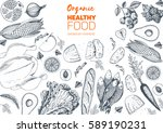 healthy food frame vector... | Shutterstock .eps vector #589190231