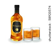 bottle and lass with whisky and ... | Shutterstock . vector #58920574