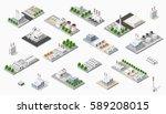 isometric set plant dimensional ... | Shutterstock .eps vector #589208015