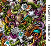 cartoon hand drawn doodles on... | Shutterstock .eps vector #589209161