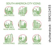 south america city icons.... | Shutterstock .eps vector #589212455