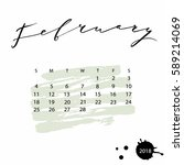 vector calendar for february... | Shutterstock .eps vector #589214069