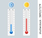 celsius and fahrenheit... | Shutterstock .eps vector #589217279