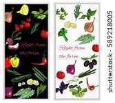 vertical vegetable banner with...   Shutterstock .eps vector #589218005