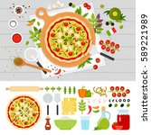italian pizza and products for... | Shutterstock . vector #589221989