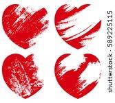 red grunge heart shapes set | Shutterstock .eps vector #589225115