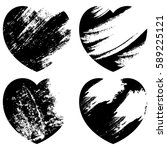 black grunge heart shapes set | Shutterstock .eps vector #589225121