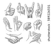 male and female hand sign.... | Shutterstock .eps vector #589226531