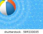 beach ball in the pool | Shutterstock .eps vector #589233035