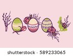 religious easter holiday. a set ... | Shutterstock .eps vector #589233065