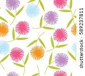 spring flower pattern | Shutterstock .eps vector #589237811