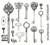 vector set of hand drawn... | Shutterstock .eps vector #589240649