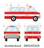 ambulance car long shadow flat... | Shutterstock .eps vector #589245335