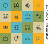 set of 16 business management... | Shutterstock .eps vector #589249745