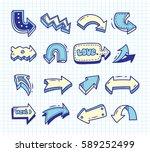 set of arrow doodle on paper... | Shutterstock . vector #589252499
