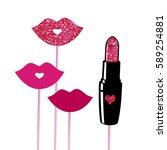 photo booth props vector... | Shutterstock .eps vector #589254881