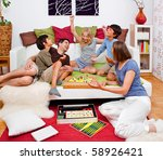 a young family is playing board ... | Shutterstock . vector #58926421
