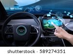 vehicle cockpit and screen  car ... | Shutterstock . vector #589274351