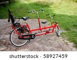 Red Tandem Bike With Child's...