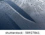 Car Hood With Water Drops.
