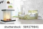 modern bright interior . 3d... | Shutterstock . vector #589279841