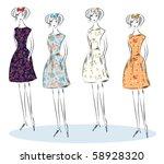 fashion girls sketch | Shutterstock .eps vector #58928320