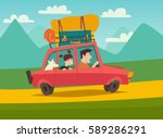 summer trip vector illustration ... | Shutterstock .eps vector #589286291