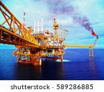 offshore construction platform... | Shutterstock . vector #589286885