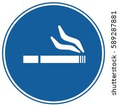 smoking area sign blue. vector. | Shutterstock .eps vector #589287881