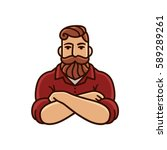 drawing of man with beard and... | Shutterstock .eps vector #589289261