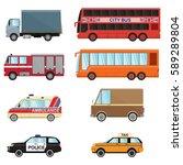 city transport set taxi  bus ... | Shutterstock .eps vector #589289804