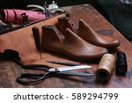 set of tools for shoemaker on... | Shutterstock . vector #589294799