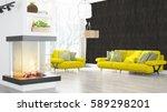 modern bright interior . 3d... | Shutterstock . vector #589298201