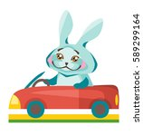 pleased rabbit traveling by car. | Shutterstock .eps vector #589299164