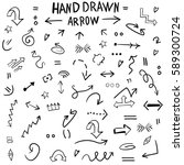 hand drawing. set. arrows. a... | Shutterstock .eps vector #589300724