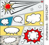 comic speech bubbles and comic... | Shutterstock .eps vector #589312907