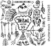 tribal vector set. hand drawn... | Shutterstock .eps vector #589314635