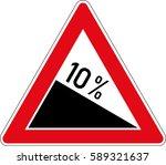 descent. vector road sign... | Shutterstock .eps vector #589321637