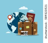 suitcase and world globe.... | Shutterstock .eps vector #589323521