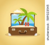 composition with a suitcase and ... | Shutterstock .eps vector #589323545