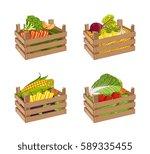 Wooden Box Full Of Vegetable...